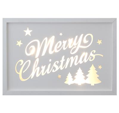 Décor Lites Wooden LED Box White Merry Christmas Trees 20cm x 30cm x 3cm, 2 x AA Battery - L.E.D Lights