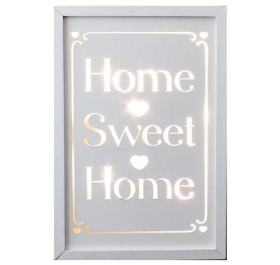 Décor Lites Wooden LED Box White Home Sweet Home 20cm x 30cm x 3cm, 2 x AA Battery - L.E.D Lights