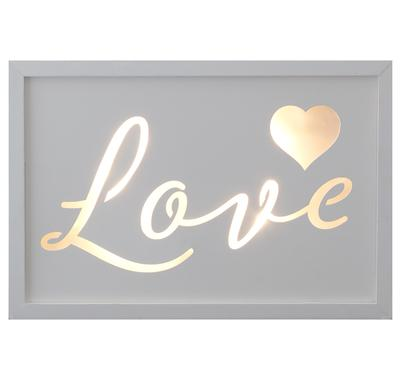 Décor Lites Wooden LED Box White Love 20cm x 30cm x 3cm, 2 x AA Batter - L.E.D Lights