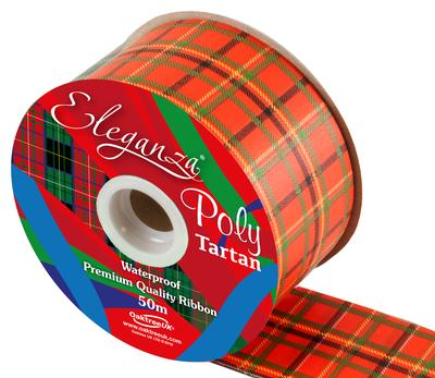 Eleganza Poly Tartan 50mm x 50m Bouble Sided Red Pattern No.259 - Ribbons