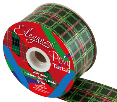 Eleganza Poly Tartan 50mm x 50m Double Sided Green Pattern No.26 - Ribbons