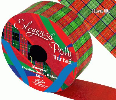 Eleganza Poly 50mm x 50m Tartan - Christmas Ribbon