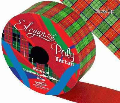 Eleganza Poly 50mm x 50m Tartan - Christmas Ribbon