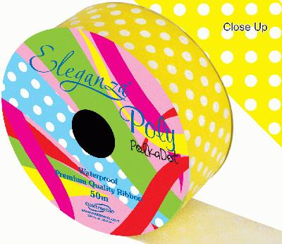 Eleganza Poly 50mm x 50m Polka Dot Yellow No.11 - Ribbons