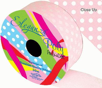 Eleganza Poly 50mm x 50m Polka Dot Lt. Pink No.21 - Ribbons