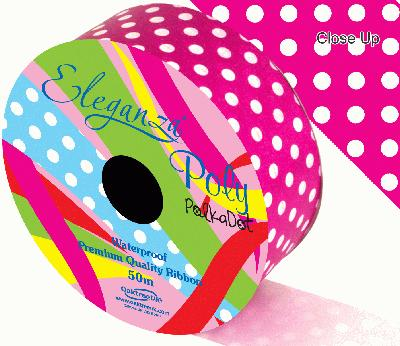 Eleganza Poly 50mm x 50m Polka Dot Fuchsia No.28 - Ribbons