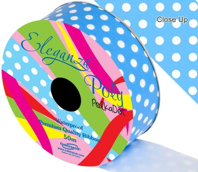Eleganza Poly 50mm x 50m Polka Dot Lt Blue No.25 - Ribbons