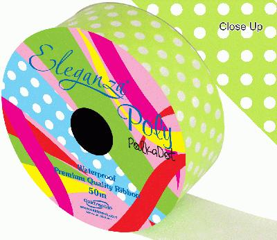 Eleganza Poly 50mm x 50m Polka Dot Lime Green No.14 - Ribbons