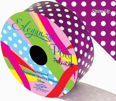 Eleganza Poly 50mm x 50m Polka Dot Purple No.36 - Ribbons