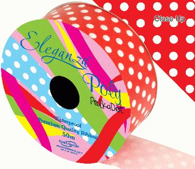 Eleganza Poly 50mm x 50m Polka Dot Red No.16 - Ribbons