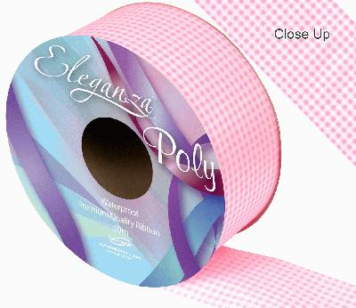 Eleganza Poly Ribbon 50mm x 50m - Gingham Lt. Pink - Ribbons