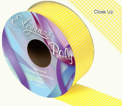 Eleganza Poly Ribbon 50mm x 50m - Gingham Yellow - Ribbons