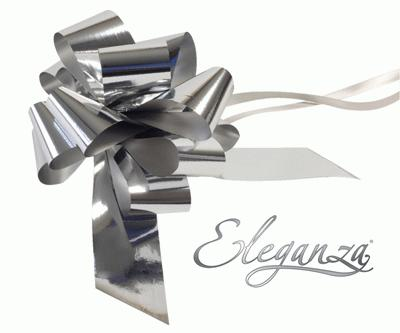 Eleganza Poly Pull Bows Metallic 50mm x 20pcs Silver - Pullbows
