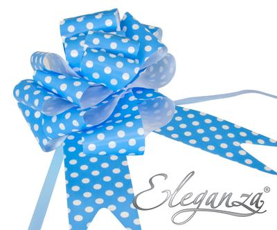 Eleganza Poly Pull Bows 50mm x 20pcs Polka Dot Lt Blue No.25 - Pullbows