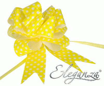 Eleganza Poly Pull Bows 50mm x 20pcs Polka Dot Yellow No.11 - Pullbows