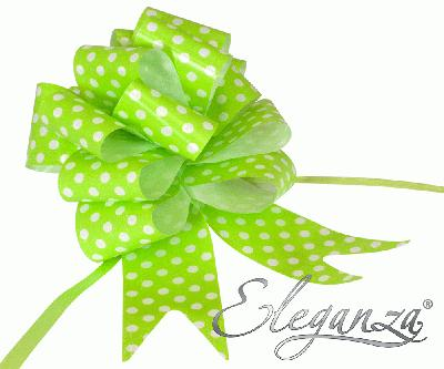 Eleganza Poly Pull Bows 50mm x 20pcs Polka Dot Lime Green No.14 - Pullbows