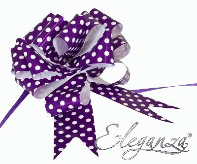 Eleganza Poly Pull Bows 50mm x 20pcs Polka Dot Purple No.36 - Pullbows