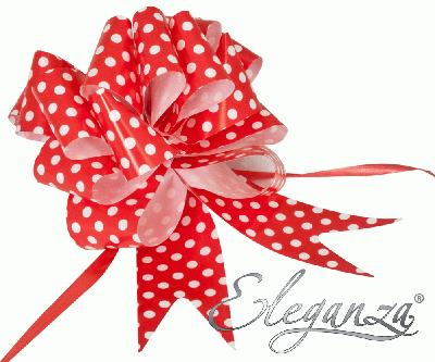 Eleganza Poly Pull Bows 50mm x 20pcs Polka Dot Red No.16 - Pullbows