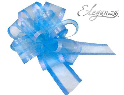Organza Pull Bows 50mm x10pcs Lt Blue - Pullbows