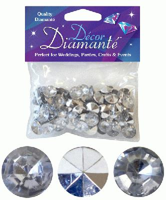Décor Diamanté™ 12mm 28g bag, Silver (Clear with mirrored back) - Accessories