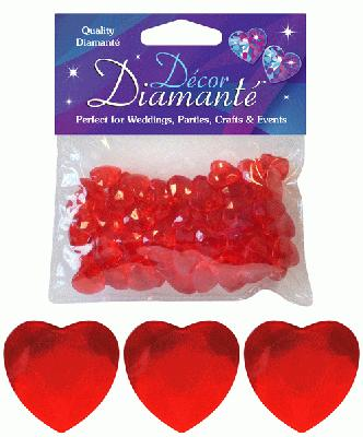 Décor Diamanté™ 12mm Hearts 28g bag, Red - Accessories