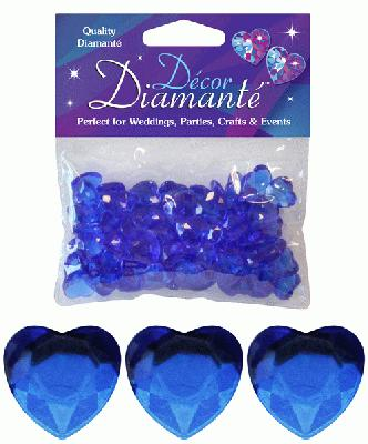 Décor Diamanté™ 12mm Hearts 28g bag, Sapphire Blue - Accessories