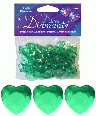 Décor Diamanté™ 12mm Hearts 28g bag, Emerald - Accessories
