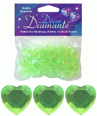 Décor Diamanté™ 12mm Hearts 28g bag, Lime Green - Accessories