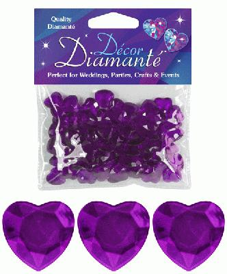 Décor Diamanté™ 12mm Hearts 28g bag Amethyst - Accessories