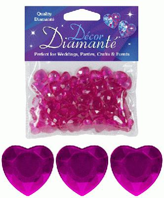 Décor Diamanté™ 12mm Hearts 28g bag Cerise - Accessories