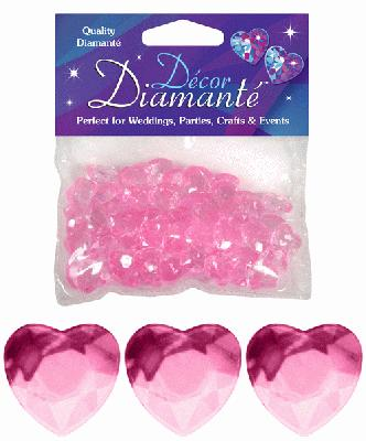 Décor Diamanté™ 12mm Hearts 28g bag, Pearl Pink - Accessories