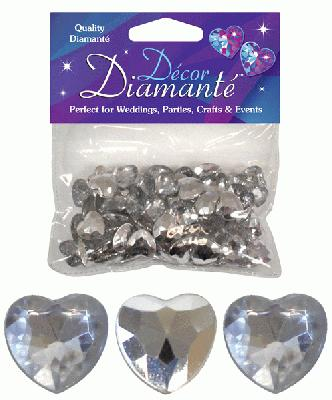 Décor Diamanté™ 12mm Hearts 28g bag, Silver (Clear with mirrored back) - Accessories