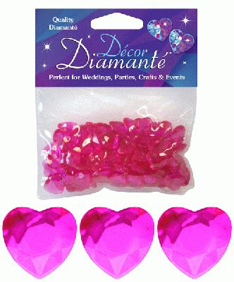 Décor Diamanté™ 12mm Hearts 28g bag, Hot Pink - Accessories