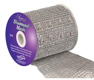 Eleganza Diamond Mesh 11cm x 4.5m Pattern No.351 Silver No.24 - Accessories