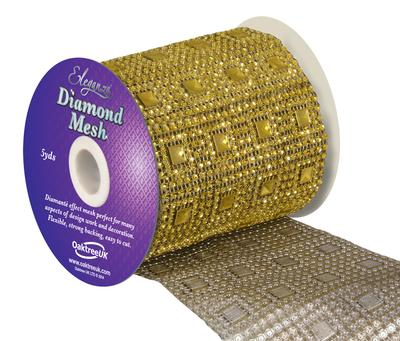 Eleganza Diamond Mesh 11cm x 4.5m Pattern No.351 Gold No.35 - Accessories