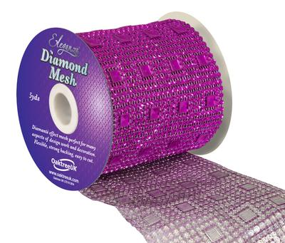 Eleganza Diamond Mesh 11cm x 4.5m Pattern No.351 Fuchsia No.28 - Accessories