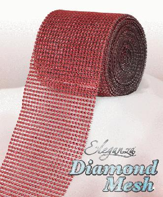 Eleganza Diamond Mesh 12cm x 9m Red No.16 - Accessories