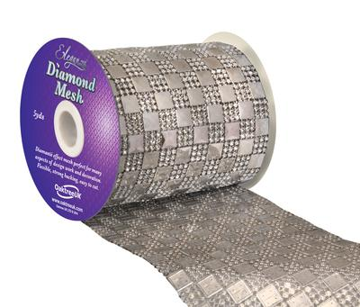 Eleganza Diamond Mesh 11cm x 4.5m Pattern No.350 Silver No.24 - Accessories