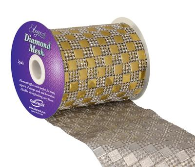 Eleganza Diamond Mesh 11cm x 4.5m Pattern No.350 Gold No.35 - Accessories