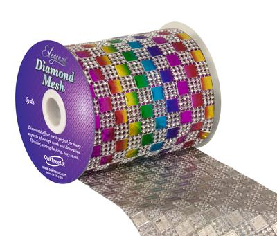 Eleganza Diamond Mesh 11cm x 4.5m Pattern No.350 Rainbow - Accessories