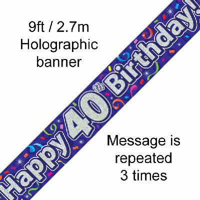 40th Birthday Streamers - Banners & Bunting