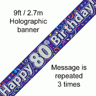 80th Birthday Streamers - Banners & Bunting