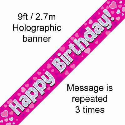Happy Birthday Pink - Banners & Bunting