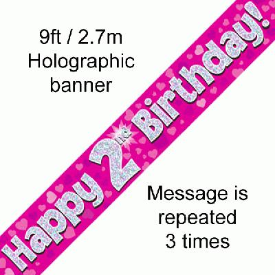 2nd Birthday Pink - Banners & Bunting