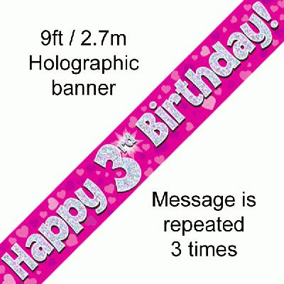 3rd Birthday Pink - Banners & Bunting