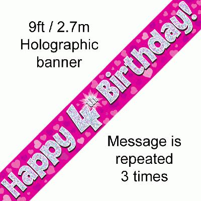 4th Birthday Pink - Banners & Bunting