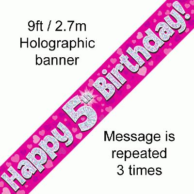 5th Birthday Pink - Banners & Bunting