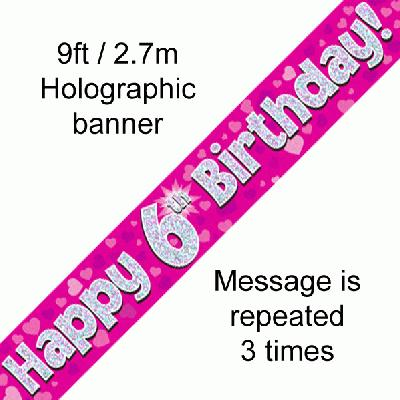 6th Birthday Pink - Banners & Bunting