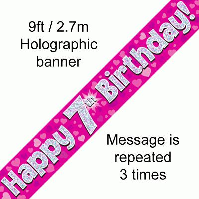 7th Birthday Pink - Banners & Bunting