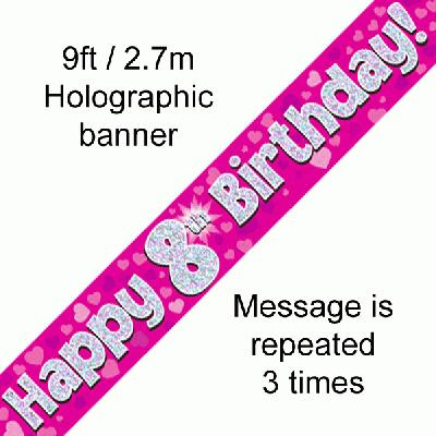 8th Birthday Pink - Banners & Bunting
